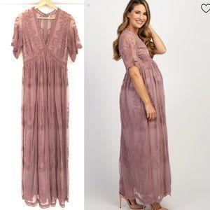 Pinkblush Maternity lace mauve maxi dress M
